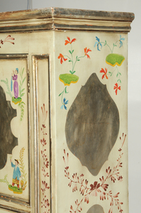 Silver Leaf and Paint Decorated Cabinet