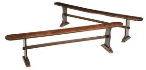 A Pair Baroque Walnut and Oak Trestle Benches