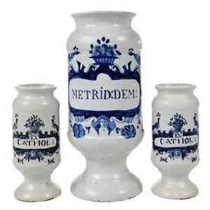 Three Delft Apothecary Jars