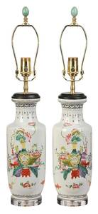 Pair Of Chinese Vases Converted To Lamps