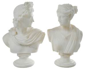 Pair of Classical Alabaster Busts