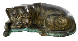 Gilt Bronze Figure of Recumbent  Dog