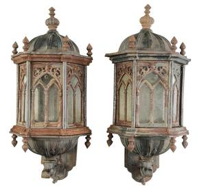 Pair of Gothic Revival Lanterns with Brackets