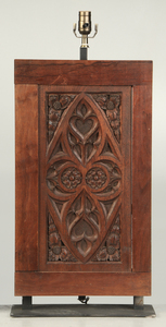 Pair of Gothic Oak Panels Converted To Lamps