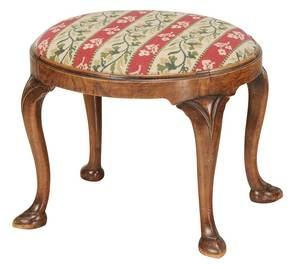 A Queen Anne Style Walnut Footstool