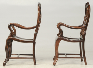 A Pair of Marble Inset Carved Armchairs