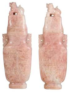 Pair of Monumental Rose Quartz Temple Jars