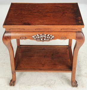 Chinese Carved Hardwood Tea Table