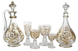 35 Pieces of Gilt Venetian Glassware