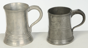 Three Early Glass Decanters, Seven Pewter Canns