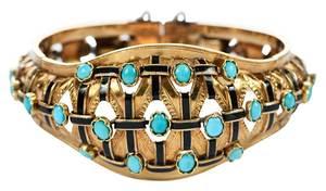 Antique 18kt. Turquoise & Enamel Bracelet
