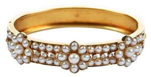 Antique 18kt. Pearl & Diamond Bracelet