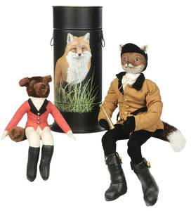 Two Stuffed Fox Figures and Painted Canister