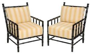 A Pair Ebonized Faux-Bamboo Armchairs