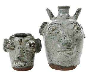 Two Burlon Craig Stoneware Face Vessels