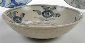 Three Chinese Large Blue White Deep Dishes