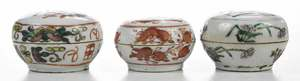 Group of Six Chinese Round Earthenware Boxes