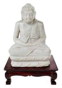 Carved White Marble Buddha