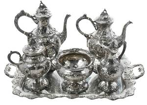 Five Piece Coin Silver Tea Service
