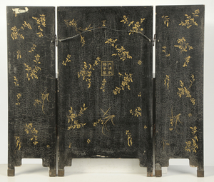 Black Lacquer Chinese Three Panel Screen