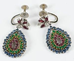 Two Pairs Gold & Gemstone Earrings