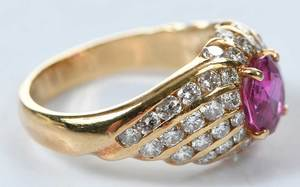 18kt. Pink Sapphire and Diamond Ring