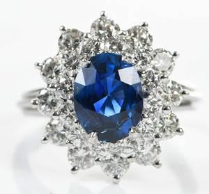 Platinum Sapphire & Diamond Ring
