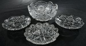 Four Brilliant Period Cut Glass Plates/Bowl