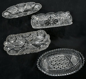Four Brilliant Period Cut Glass Relish Dishes