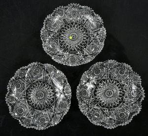Three Clarke Brilliant Period Cut Glass Plates