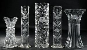 Five Glass Vases