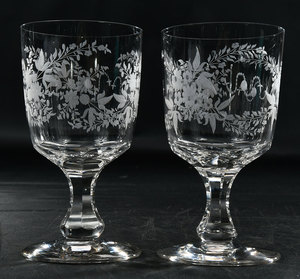 Ten Etched Glass Water Goblets