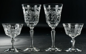 Sixteen Etched Glass Stems