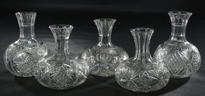 Five Brilliant Period Cut Glass Carafes