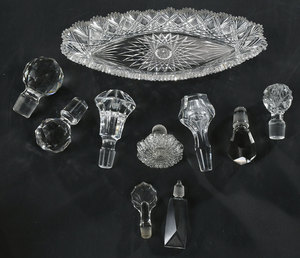 Assorted Glass Stoppers, Cut Glass Relish