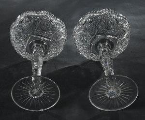 Pair Brilliant Period Cut Glass Compotes
