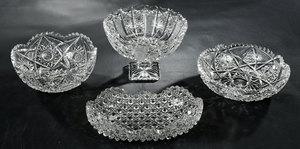 Three Brilliant Period Cut Glass Bowls, Compote