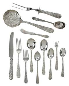 Kirk Repousse Sterling Flatware, 101 Pieces