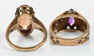 Two 10kt. Gemstone Rings