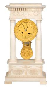 French Empire Alabaster Mantel Clock
