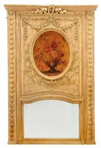 Louis XVI Style Parcel-Gilt Trumeau Mirror