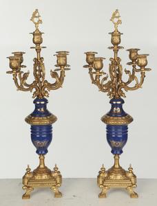 Pair Italian Brevettato Five Light Candelabra