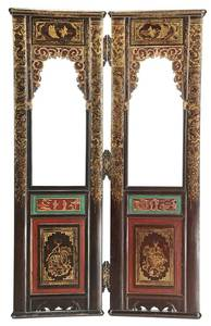 Pair of Chinese Parcel-Gilt Interior Doors