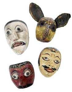 Group of Four Wooden Masks
