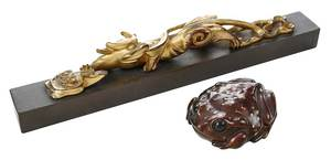 Chinese Paper Weight  and Bronze Belt Buckle