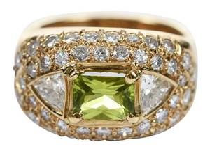 14kt. Diamond & Peridot Ring