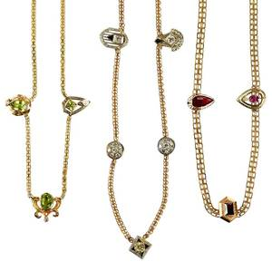 Three 14kt. Gemstone Necklaces
