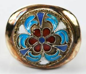 Antique 14kt. Enamel Ring