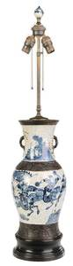 Blue and White Chinese Vase Converted to Lamp