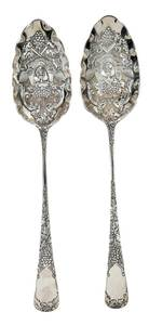 Cased English Silver Berry Spoons
